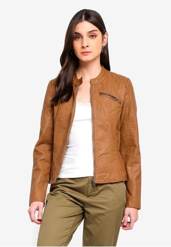 ONLY brown Flora Faux Leather Jacket 23C5CAACE261F0GS 1 2217b5d96c
