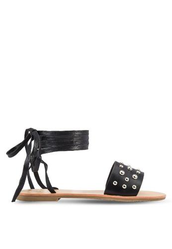 Something Borrowed black Studded Ankle Tie Flat Sandals 9B3F8SH8854D21GS_1