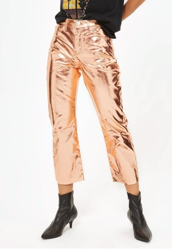 TOPSHOP 褐色 Moto Copper Metallic Cropped Kick Flare Jeans TO412AA0RJMVMY_1