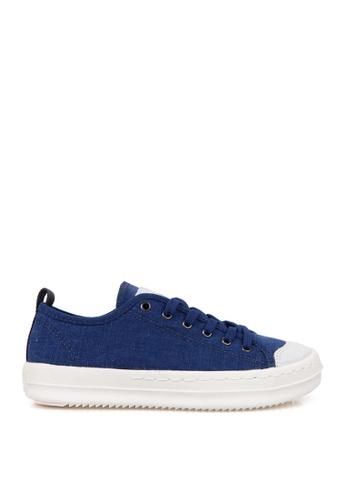 J.DAUL 藍色 經典厚底真皮帆布休閒鞋 JD556SH09Q58TW_1