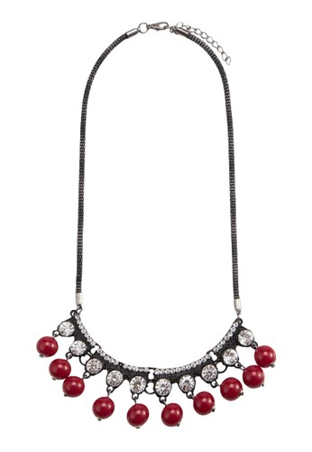 Red Pearls Rhinestone Necklace, 飾品配esprit香港分店件, 項鍊