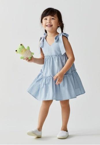 Love, Bonito blue Gracie Tiered Textured Cotton Dress 2865AKA0532BD0GS_1