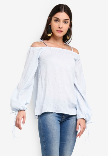 ZALORA 藍色 Off Shoulder Puffed Sleeves Top 77675AA67BA772GS_1