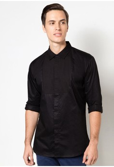 Premium Collection - Tonal Bib Detail Long Sleeve Shirt