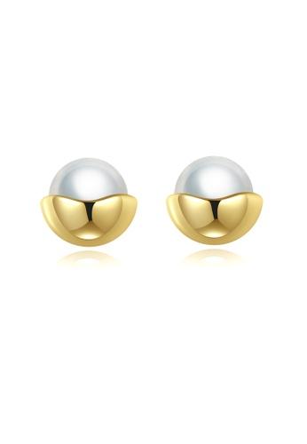 SUNRAIS gold High quality Silver S925 gold round earrings E58AEACA419420GS_1