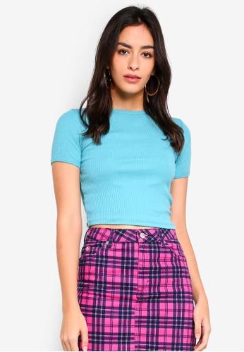 TOPSHOP blue Short Sleeve Scallop T-Shirt 1B224AA4199E72GS_1