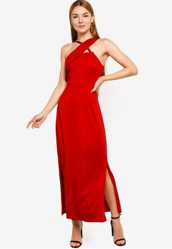 ZALORA OCCASION red Asymmetric Shoulder Knit Dress 12B9EAA8DB468FGS_1