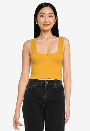 Noisy May yellow Anny Sleeveless Cropped Tank Top 7AF99AAB017927GS_1