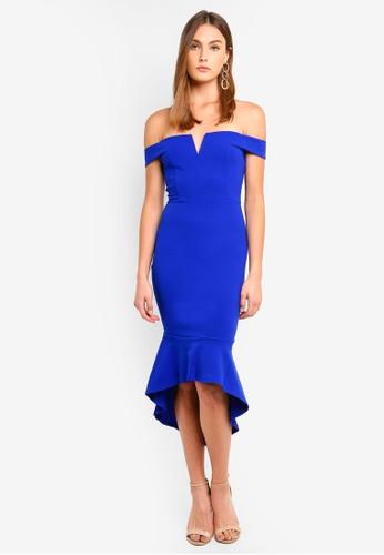 AX Paris blue Bardot Fish Tail Midi Dress A271BAAA6FB143GS_1