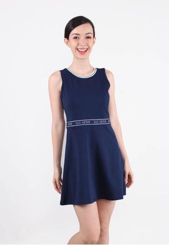 ELLE blue Signature Waistline Band Tennis Dress NAVY 06257AA13EA501GS_1
