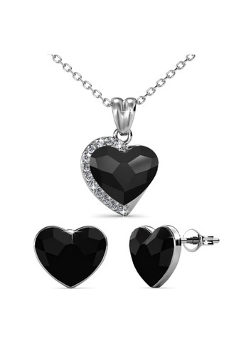 Her Jewellery black Fond Love Set (Black) - Made with premium grade crystals from Austria A81F4ACF9231F9GS_1