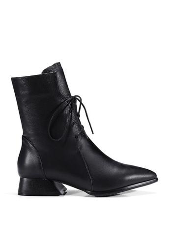 Twenty Eight Shoes black Pointed Toe Lace Up Mid Boots VB269 E9129SHA028DE8GS_1