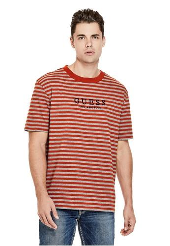 Guess 紅色 Guess Originals LOGO間條T恤 1C868AA5321630GS_1