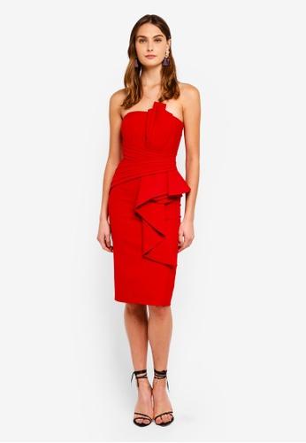 Goddiva red Fan Pleated Boob Tube Midi Dress 4252FAAE873EB1GS_1