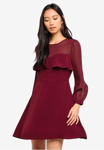 Preen & Proper red Sheer Yoke Fit And Flare Mini Dress 458F9AA70B7307GS_1