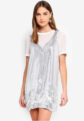French Connection white Ello Sparkle Mini Dress AA910AA8A154D5GS_1