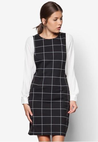 條紋長zalora taiwan 時尚購物網袖直筒連身裙, 服飾, 服飾