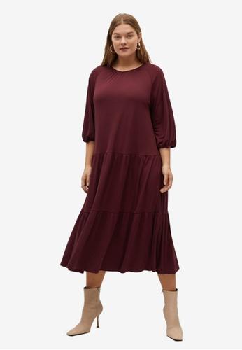 Violeta by MANGO red Plus Size Flared Midi Dress D66EEAAF2DFDFCGS_1