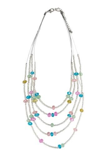層次串珠閃飾項鍊, zalora 內衣飾品配件, 飾品配件