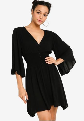 Something Borrowed black Long Sleeve Smocked Waist Midi Dress 98E6AAAAD0CA53GS_1