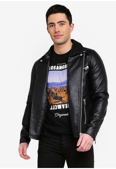 15003021ac2 Jack   Jones black Jprcam Pu Leather Biker Jacket B255EAA0BF6F0DGS 1