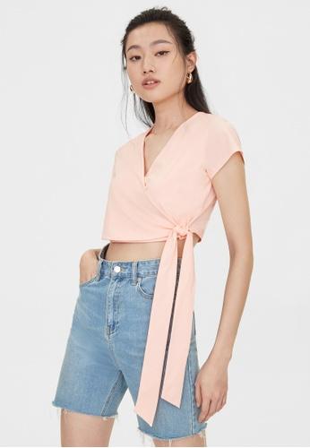 Pomelo pink Side Tie Wrap Top - Pink ECA14AA61EF55BGS_1