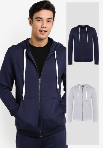 ZALORA grey and navy 2 Pack Cotton Terry Hoodie ZA819AA0RD99MY_1