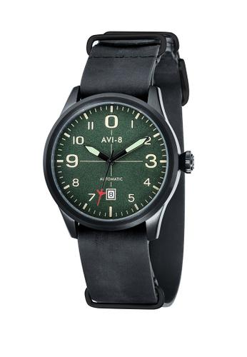 AVI-8 black Flyboy Leather Strap Watch AV642AC58JWBPH_1