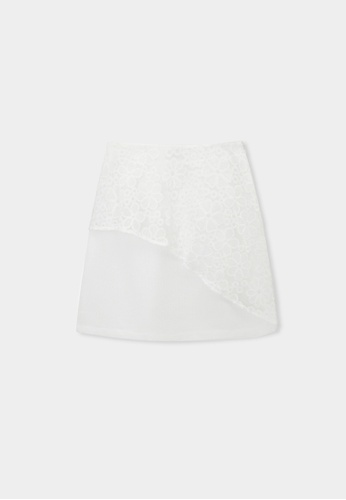 Pomelo white Asymmetric Lace Accent Skirt - White 14274AA7F6B83BGS_1