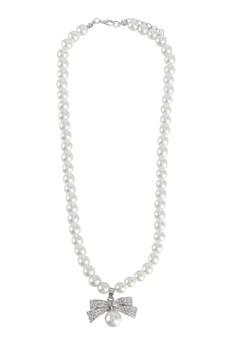Ribbon Rhinestone Pearl Necklace