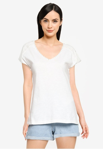 Springfield white Swiss Embroidery Shoulders T-Shirt FA58CAABEBCBEDGS_1