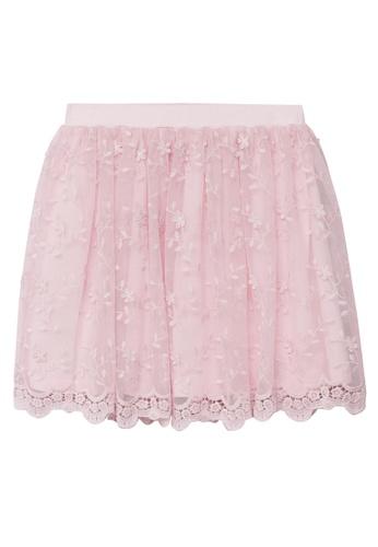 MANGO KIDS pink Flower Embroidered Tulle Skirt 4E9FAKA542159BGS_1