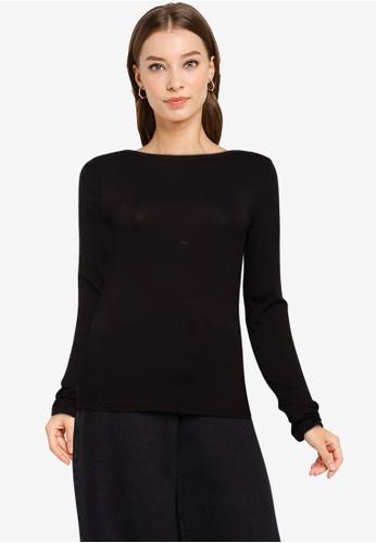 OVS black Long-Sleeved Boat Neck T-Shirt BB61BAA6A32744GS_1