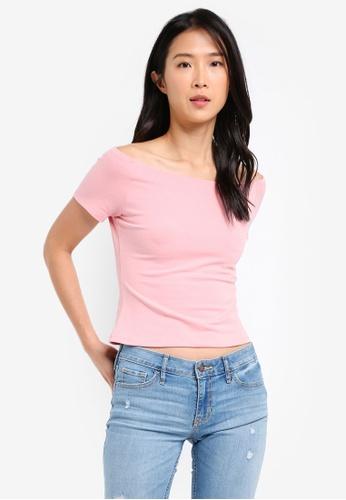 ZALORA pink Off Shoulder Jersey Top 4D34DAA4E30FE6GS_1