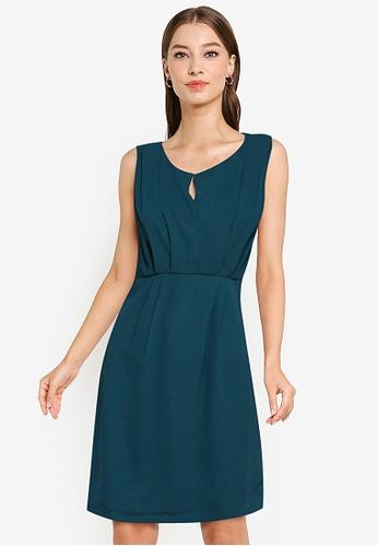 ZALORA WORK green Pleat Front Dress 3B318AAD0DC30BGS_1