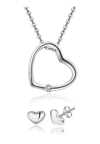 YOUNIQ silver YOUNIQ Simple Love 925 Sterling Silver Necklace Pendant with Cubic Zirconia & Earrings Set YO999AC50KZDMY_1