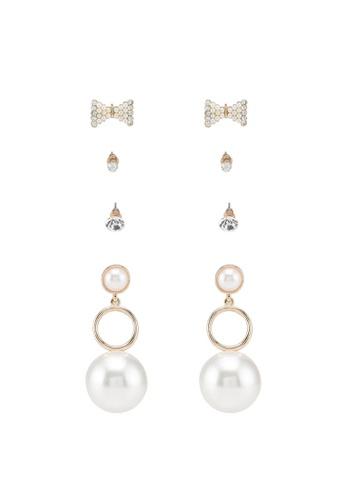 Red's Revenge white 4-in-1 Pearl Power Dangle & Studs Earrings Set AB99DAC2C60CBEGS_1
