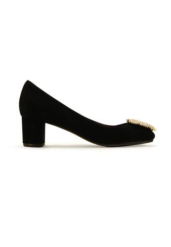 Gripz black Carrie Suede Round Toe Block Heels GR357SH03IRCSG_1