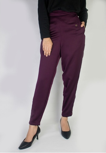 Zaryluq purple Slim Button-Down Pants in Merlot ED8A2AAE0E6365GS_1