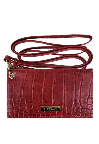 Mel&Co red Faux Leather Croco Landyard Card Holder 1F3C8ACE83076EGS_1