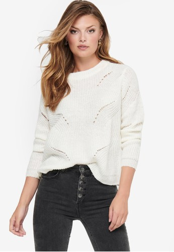 JACQUELINE DE YONG white Daisy Long Sleeve Structure Pullover FE768AAA1BE476GS_1