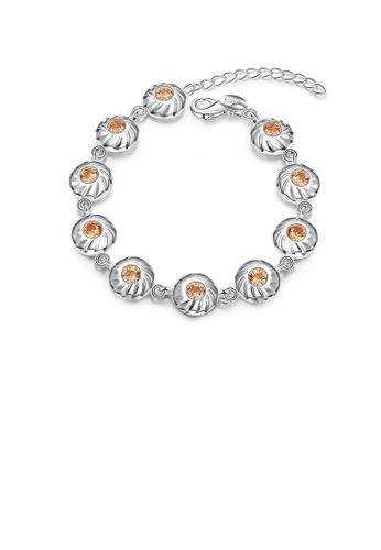 Glamorousky gold Fashion Elegant Geometric Round Champagne Cubic Zircon Bracelet E6058ACF936C32GS_1