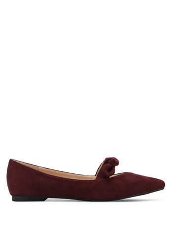 ZALORA 紅色 緞帶尖頭平底鞋 25483SH0F2B217GS_1