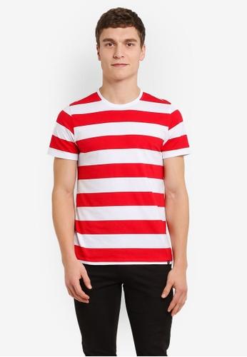 JAXON white and red Striped Crew Neck Tee 641E5AA7D2554FGS_1