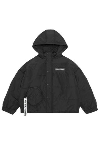 Mini cream black Cropped hooded down jacket 38EB0AA7DA2060GS_1