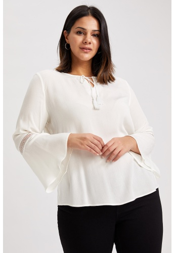 DeFacto white Woman Woven Long Sleeve Blouse 756F6AAE44D34AGS_1