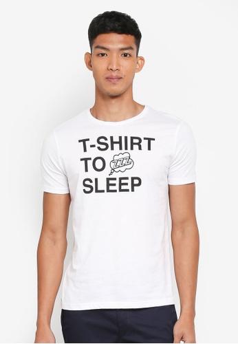 OVS 白色 短袖文字印花T恤 55C56AAC056996GS_1