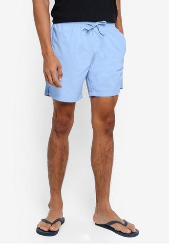 !Solid blue Hector Nylon Shorts CAA0DAA7044023GS_1