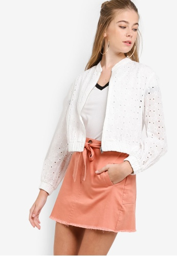 Something Borrowed white Cotton Embroidered Bomber Jacket 28DC6AA38E5664GS_1