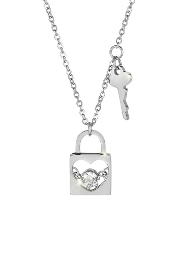 CELOVIS silver CELOVIS - Honor Heart Lock Pendant with Cubic Zirconia and Key Chain Necklace in Silver A94A5AC3C67F2CGS_1